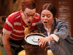 Hugo (James Schilling) and Chris (Rachel Guyer-Mafune) investigate something nasty in the pot in Washington Ensemble Theatre's FEATHERS AND TEETH onstage March 29-April 15, 2019. Photo: WET