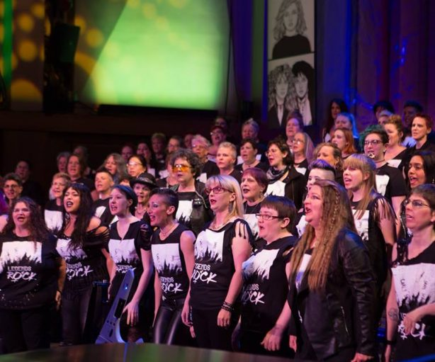 "Seattle Women's Chorus in ""Legends of Rock"" Photo: Conrado Tapado of eQuality Images."
