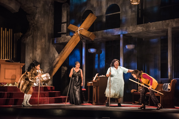 Porscha Shaw, Shontina Vernon, Shaunyce Omar, and Britney Nicole Simpson in Nina Simone: Four Women at Seattle Repertory Theatre from April 26 to June 2, 2019 Photo by Nate Watters.