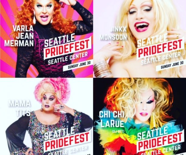 Big Drag names at Seattle PrideFest 2019! Varla Jean Merman, Jinkx Monsoon, Mama Tits and Chi Chi LaRue!