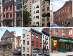 Top, left to right: GAA Firehouse, James Baldwin Residence, LGBT Community Center; Bottom, left to right: Audre Lorde Residence, Women's Liberation Center, Caffe Cino; Photos courtesy of NYC LGBT Historic Sites Project