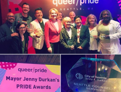 The 2019 Seattle Mayor's Pride Award winners at Queer Bar, June 26,2019. Photo via Seattle Counseling Services FB