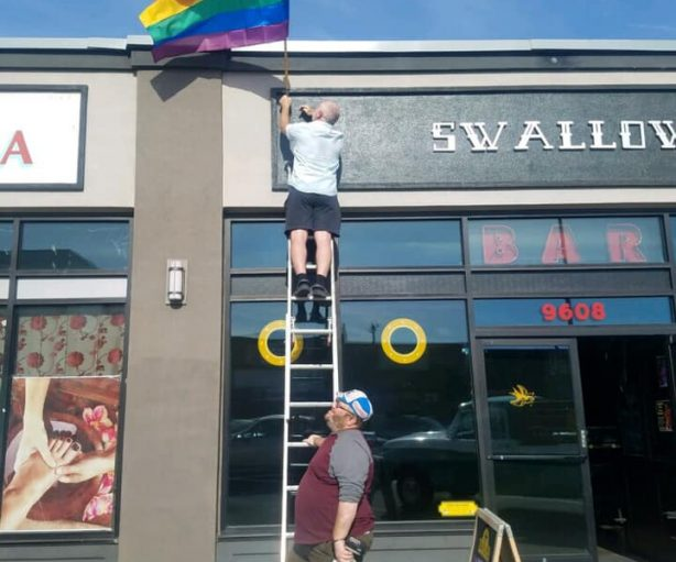Stolen Pride flag replaced at Swallow Bar in White Center. Via Swallow Bar FB page