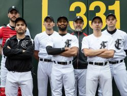 Dylan Smith, Tony Magaña Jr., Craig Peterson, Lamar Legend, Carter Rodriquez, Roger Estrada and Trick Danneker at T-Mobile Park in a publicity shot for Strawberry Theatre Workshop's production of Richard Greenberg's TAKE ME OUT onstage at 12th Avenue Arts, May 23-June 22, 2019. Photo: John Ulman.