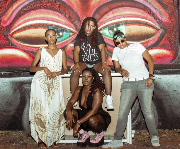 The women of The Txlips: MoDrumma, Guitar Gabby, and Armani Swayze